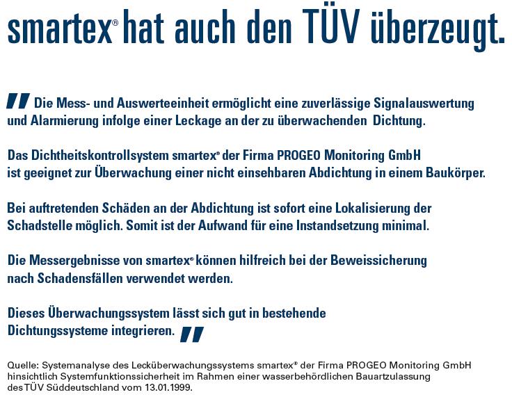 schon 1999 hat der TÜV den Nutzen von smartex bescheinigt